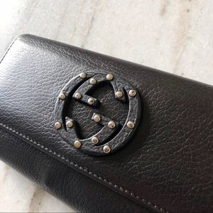 Gucci Bags - GUCCI  Soho Studded Leather Flap Clutch Wallet